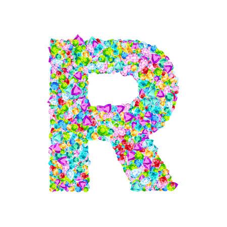 Vector colorful gem stones font, letter R