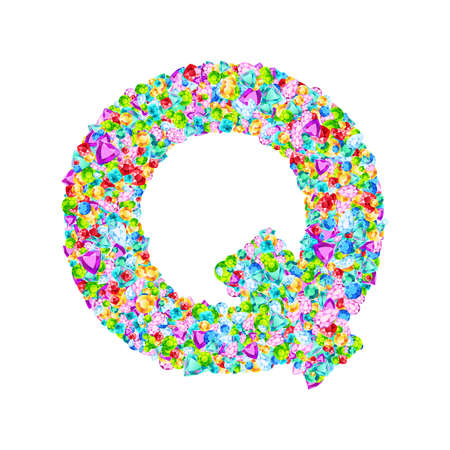 Vector colorful gem stones font, letter Q