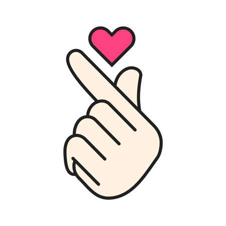 Vector korean heart hand gesture symbol