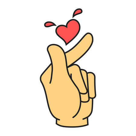 Vector korean heart hand gesture symbol