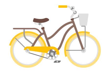 Bicicletta di vettore in stile piano isolato su bianco Vettoriali