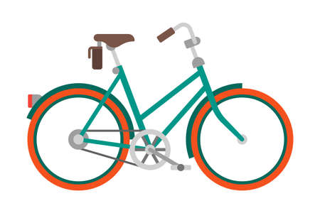 Vector bicycle in flat style isolated on white Çizim