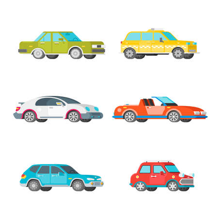 Vector passenger cars set in half isometric flat style
