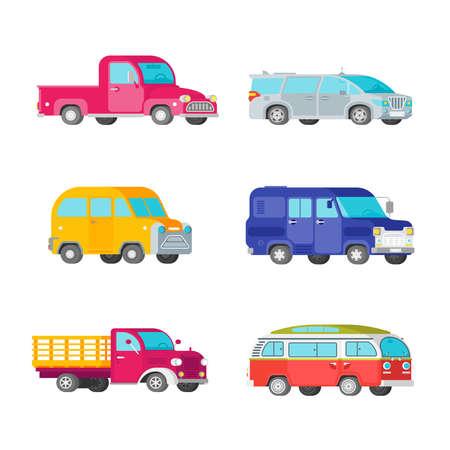 Vector freight trucks and minivans set in half isometric flat style Illustration