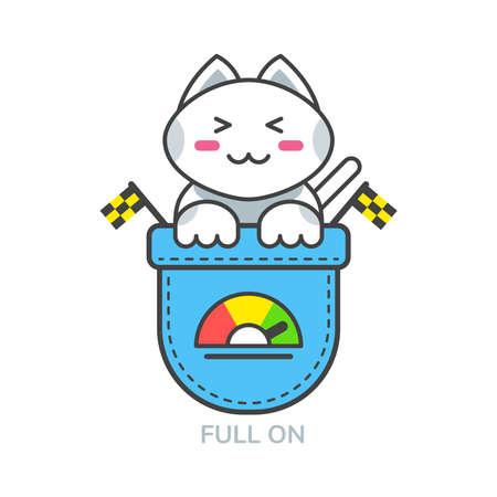 Pocket cute cat asian emoji icon for full on mood Векторная Иллюстрация