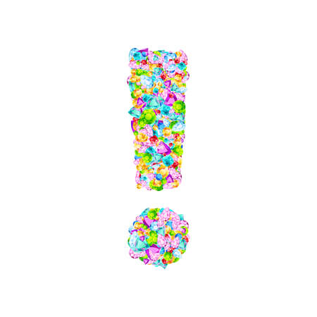 Vector colorful gem stones font, exclamation mark