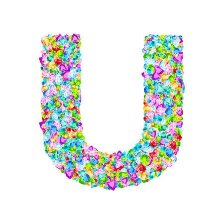 Vector colorful gem stones font, letter U Ilustrace