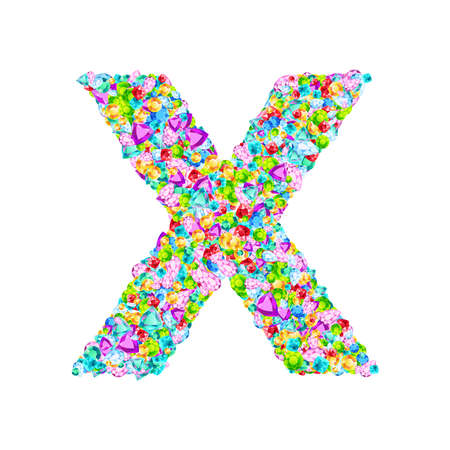 Vector colorful gem stones font, letter X