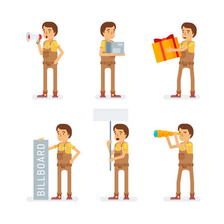 Vector young adult man in worker overalls ready-to-use character marketing and infographic poses set in flat style.