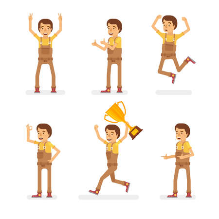 Vector young adult man in worker overalls ready-to-use character success and positive mood poses set in flat style.  イラスト・ベクター素材