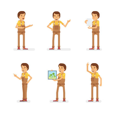 Vector young adult man in worker overalls ready-to-use character dialogue and presentation poses set in flat style.