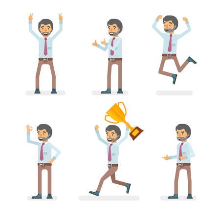 Vector young adult man in office shirt and pants ready-to-use character success and positive mood poses set in flat style.