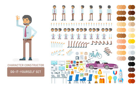 Vector young adult man in office shirt and pants do-it-yourself creation kit. Full length, gestures, emotions - all character constructor elements for building your own design for infographic illustrations.