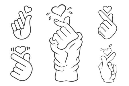 Vector korean heart hand gesture symbols set