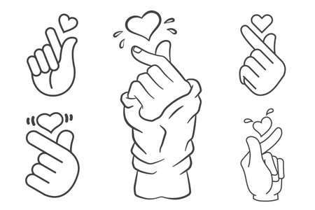 Vector korean heart hand gesture symbols set Stok Fotoğraf - 109038423