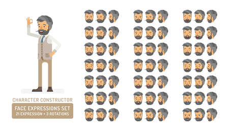 Vector young adult hipster man in vest character face expressions set in flat style: front, half-side and side view.  イラスト・ベクター素材