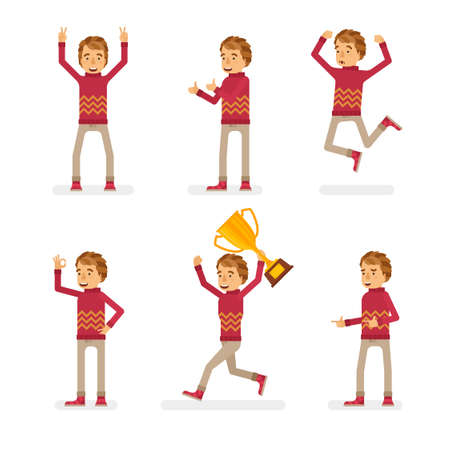 Vector young adult man in sweater ready-to-use character success and positive mood poses set in flat style.