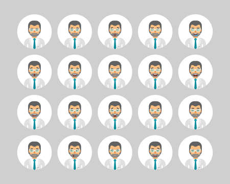 Vector scientist man in lab coat avatars and emoticons set in flat style, front view.