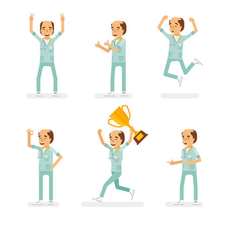 Vector adult man in doctor coat with stethoscope ready-to-use character success and positive mood poses set in flat style.