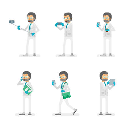 Vector scientist man in lab coat and gloves ready-to-use character gadget using poses set in flat style.