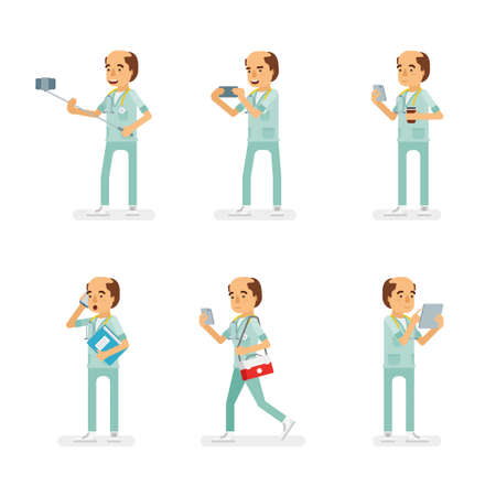Vector adult man in doctor coat with stethoscope ready-to-use character gadget using poses set in flat style.