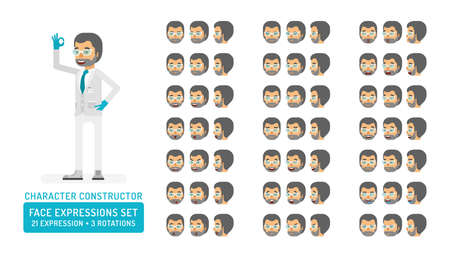 Vector scientist man in lab coat and gloves character face expressions set in flat style: front, half-side and side view.