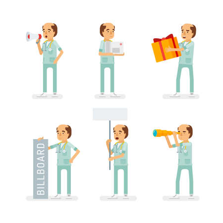 Vector adult man in doctor coat with stethoscope ready-to-use character marketing and infographic poses set in flat style.