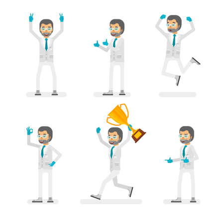 Vector scientist man in lab coat and gloves ready-to-use character success and positive mood poses set in flat style. Ilustração