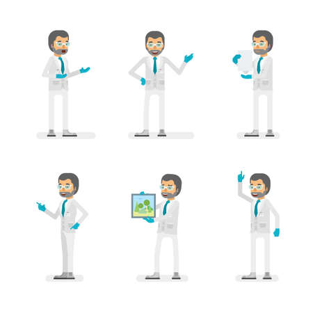 Vector scientist man in lab coat and gloves ready-to-use character marketing and infographic poses set in flat style.