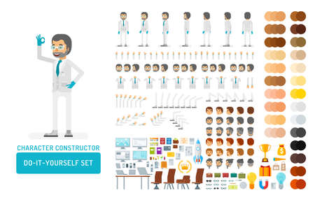 Vector scientist man in lab coat and gloves do-it-yourself creation kit. Full length, gestures, emotions - all character constructor elements for building your own design for infographic illustrations.