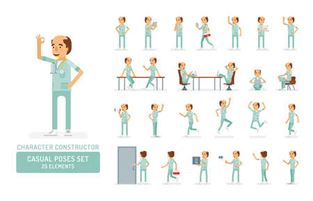 Vector adult man in doctor coat with stethoscope ready-to-use character casual poses set in flat style. Full length, gestures, emotions, front, side, back view.