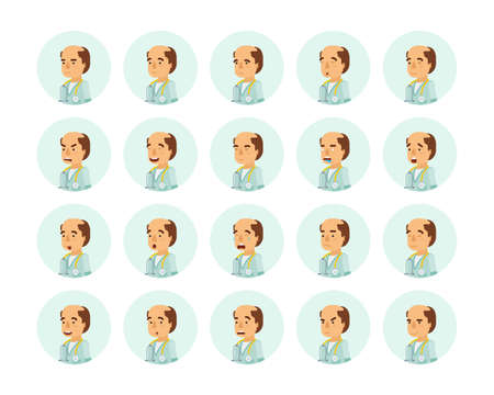 Vector adult man in doctor coat with stethoscope avatars and emoticons set in flat style, side view.