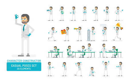Vector scientist man in lab coat and gloves ready-to-use character casual poses set in flat style. Full length, gestures, emotions, front, side, back view.