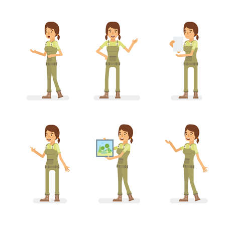 Vector young adult woman in worker overalls ready-to-use character dialogue and presentation poses set in flat style.