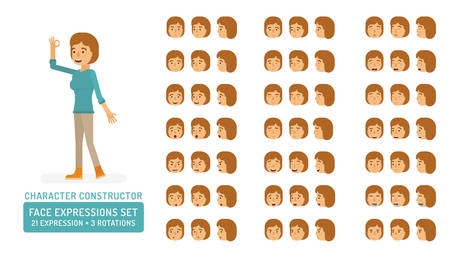 Vector young adult woman in pullover character face expressions set in flat style: front, half-side and side view. Ilustração