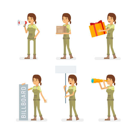 Vector young adult woman in worker overalls ready-to-use character marketing and infographic poses set in flat style.