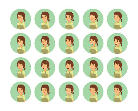 Vector young adult woman avatars and emoticons set in flat style, side view.