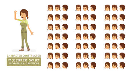 Vector young adult woman in worker overalls character face expressions set in flat style: front, half-side and side view.