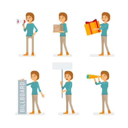 Vector young adult woman in pullover ready-to-use character marketing and infographic poses set in flat style.