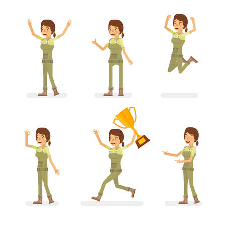 Vector young adult woman in worker overalls ready-to-use character success and positive mood poses set in flat style.