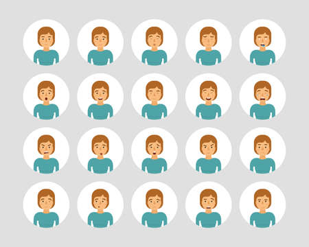 Vector young adult woman avatars and emoticons set in flat style, front view.