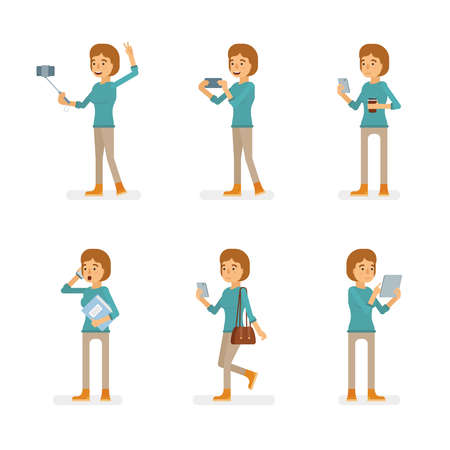 Vector young adult woman in pullover ready-to-use character gadget using poses set in flat style.