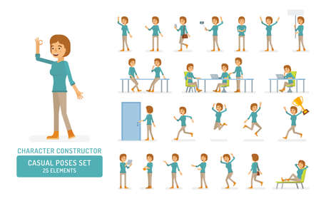 Vector young adult woman in pullover ready-to-use character casual poses set in flat style. Full length, gestures, emotions, front, side, back view. Ilustração