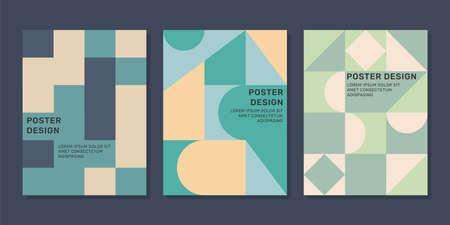 Vector minimal geometric design poster templates set. Ilustração