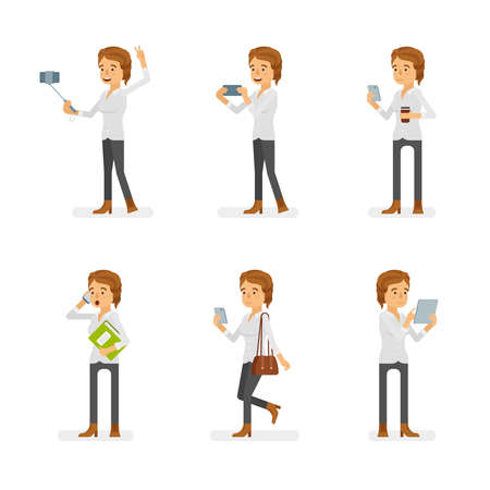 Vector young adult woman in casual clothing ready-to-use character gadget using poses set in flat style.