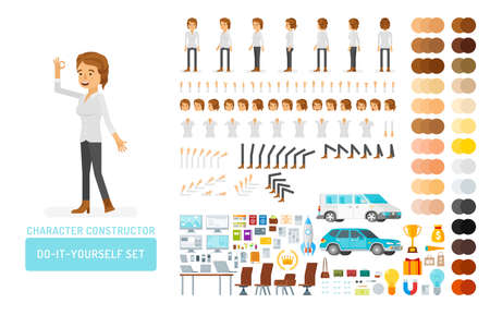 Vector young adult woman in casual clothing do-it-yourself creation kit. Full length, gestures, emotions - all character constructor elements for building your own design for infographic illustrations.