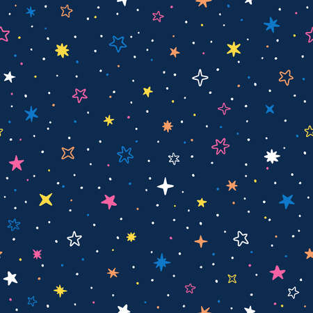 Vector hand drawn night sky doodle seamless pattern with space stars, planets, comets. Ilustração