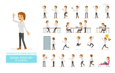 Vector young adult woman in casual clothing ready-to-use character casual poses set in flat style. Full length, gestures, emotions, front, side, back view.