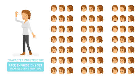 Vector young adult woman in casual clothing character face expressions set in flat style: front, half-side and side view.