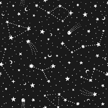 Vector hand drawn night sky doodle seamless pattern with space stars, planets, comets. 일러스트